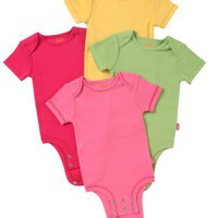 Disney Cuddly Bodysuit -  Fashion Basic 4 Pack - Winnie The Pooh Solids, Pink/Green/Yellow/Fuschia, 3-6 Months