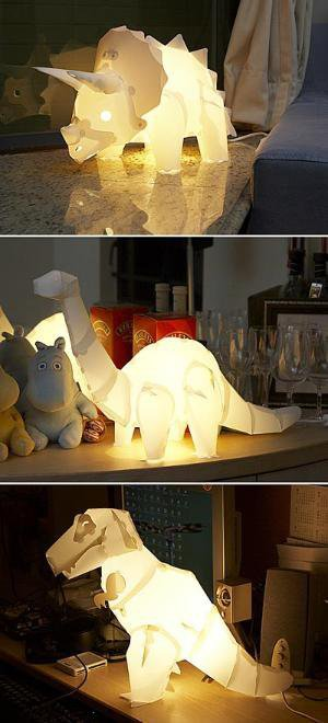 ThinkGeek :: DIY Dinosaur Lamps
