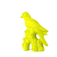 neon chartreuse bird figurine, bird home decor, birds, upcycled ceramics, pop art