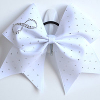 3 Wide Luxury Cheer Bow  Infinity White by BowsWithAttitude