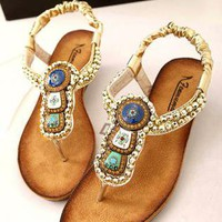 Beads Embellished Flat Sandals ERX060502