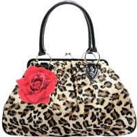 Lux De Ville Lucky Me Kiss Lock Bag Faux Leopard with Rose Handbag Purse Retro Vintage:Amazon:Clothing
