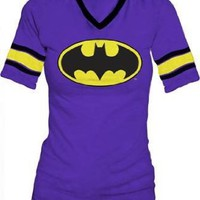 DC Comics Batman Hockey Juniors V-Neck Purple T-shirt Tee:Amazon:Clothing