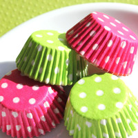 Mini Pink and Lime Polka Dot Cupcake by thebakersconfections