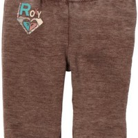 Roxy Kids Baby-Girls Infant Cuddly Hugs Slim Fitting Pant, Chocolate Brown, 18 Months