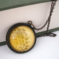 Honeycomb Natural History Pendant Necklace by thelittlechickadee