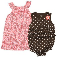 Carter's Girls Dress and Romper 3 Pc Set Orange Brown Animal Print (6 months)