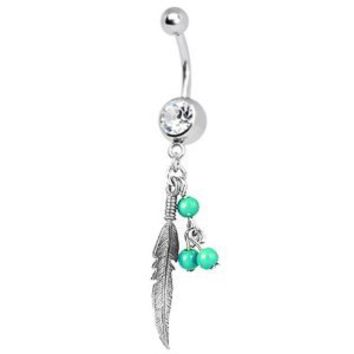 Leaf Dangle Belly Button Ring 14G (1.6mm) Belly Ring Crystal Clear Piercing + 1 Free Belly Retainer - Choose your Color