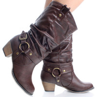 Brown Western Cowboy Biker Slouch Womens High Heel Mid Calf Boots | 55711