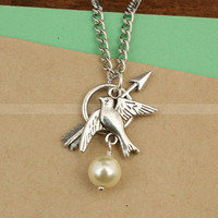 The Hunger Games charm necklace  Katniss Bow with by mosnos