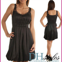 Naked-Zebra-0106-Black Glossy Satin &amp; Lace Bubble Dress