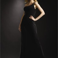 Column One-shoulder Sequin Open Back Black Floor-length Prom Dress PD1161