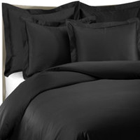 1000 Thread Count Duvet Cover - Black, 100% Cotton
