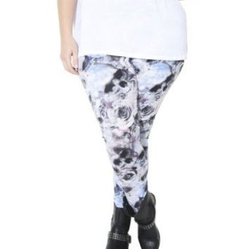 Wet Seal Women's Plus Size Rose Skull Printed Legging