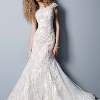 Off The Shoulder Chantilly Lace Trumpet Gown - David's Bridal - mobile