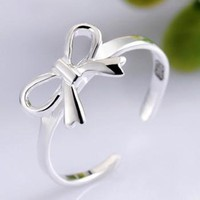 925 Silver Cute Bowtie Open Ring