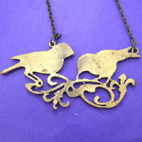 animalcharms | Love Birds Animal Silhouette Charm Necklace in Brass |  Affordable Animal Charms and Necklaces