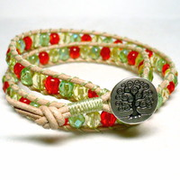 Citrus Hued Crystal and Leather Double Wrap Tree of Life Bracelet