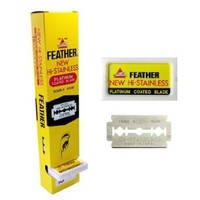 100 Ct FEATHER HI-STAINLESS DOUBLE EDGE DE RAZOR BLADES NEW HAIR REMOVE MADE IN JAPAN:Amazon:Everything Else