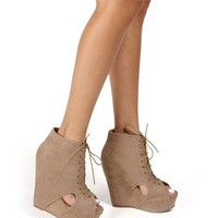 Taupe Perforated Lace Up Wedge