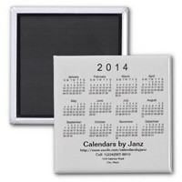 2014 Calendar Business Card Template Fridge Magnet from Zazzle.com