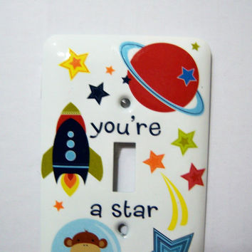 Space/Star themed single light switch cover