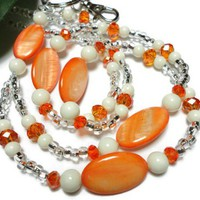 Lanyard Id Badge Necklace Orange Ivory Pearl Crystal Angel Breakaway