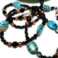 Lanyard Id Badge Necklace Black Copper Turquoise Angel Pearls Magnetic