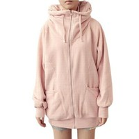 Allegra K Woman Pink Ribbed Cuffs Hem Raglan Sleeve Hooded Causal Winter Coat S:Amazon:Clothing
