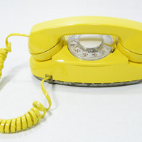 1970s Vintage Phone Yellow rotary dial telephone by ohiopicker