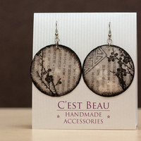 Decoupage Earrings Black &amp; Gray Earrings Large by BeauMiracle