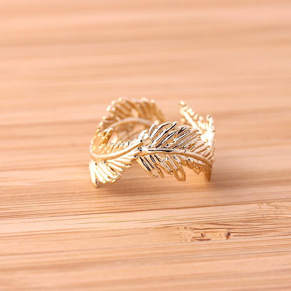 Golden Feather Ring adjustable by bythecoco on Etsy