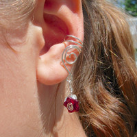 EAR CUFFS Pair of Solid Sterling Silver Ear Cuffs with Czech glass Flowers and Leaves