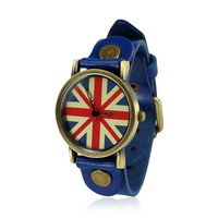 ZLCY Vintage Cowhide Leather Union Jack Watch Blue