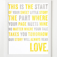 Letterpress Poem Art Print Our story will by sycamorestreetpress