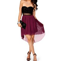 Pre-Order: Black/Fucshia Sequin Hi Lo Dress