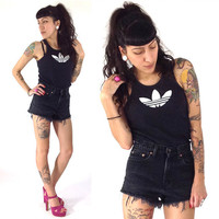 90's Adidas Tank Top S/M Black White Athletic by ShopHellaVintage