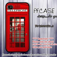 Telephone box of england london : Handmade case For Iphone 4/4s ,5
