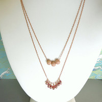 Rose gold stardust and fringe pink tourmaline double strand necklace