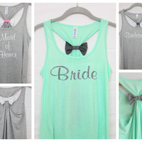 Mint Wedding Bow Tank Top Set 3-11 Shirts