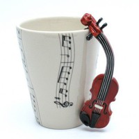 Violin Mug Ceramic Coffee Cup Handmade Home Decor Music Lover Gifts | madamepomm - Housewares on ArtFire