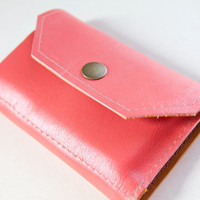 Leather iPhone Wallet aka Da Koda in Coral Pink by RobbieMoto