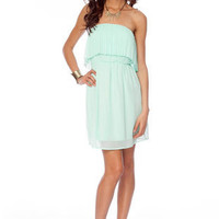 Pleats Don't Tier Dress in Mint :: tobi