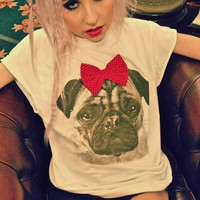 Pug Red Polka Dot Velvet Bow White T-shirt — Alice takes a trip