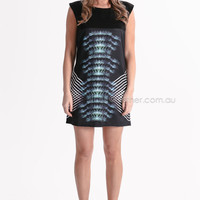 ocean's reflection tunic/dress - black/blue at Esther Boutique