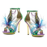 5 Inch Sexy High Heel Shoes Peacock Feather Shoes Mardi Gras Costume Shoes