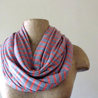 Striped Infinity Scarf Coral Heather Gray Stripes by EcoShag