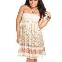 American Rag Strapless Floral Print Smocked A-Line - Plus dress