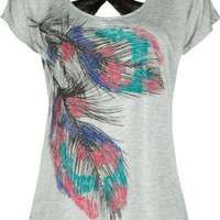 FULL TILT Lace Back Feather Womens Top