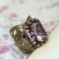 Amethyst purple jewel ring art nouveau brass by mylavaliere